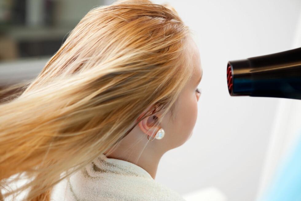 IKKE HOLD FØNEREN FOR NÆRT HÅRET: Ifølge eksperten bør du holde føneren minst ti centimeter fra håret når du føner det. Foto: Tyler Olson - Fotolia
