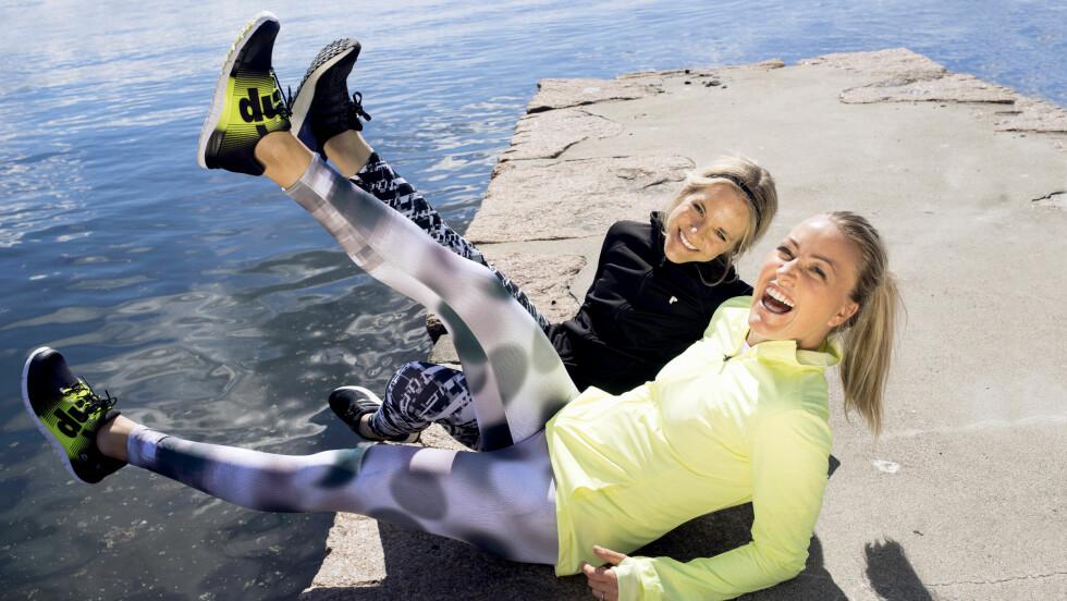 LETTVEKTSSKO: Adéle og Stine har testet lettvektssko.  Foto: Lars Erik Bakken