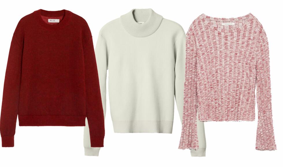 Deilig strikk du vil ha glede av: Gå for gensere i farger, markert hals eller vidde i ermene.  Fra venster: MiH via net-a-porter.com, ca. kr 2700. H&M, kr 499. Zara, kr 249.  Foto: Produsentene og Net-a-porter.com