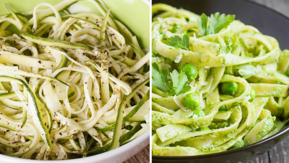 <strong>SQUASH og PASTA:</strong> På tallerkenen til venstre finner du zucchini, på den til høyre vanlig pasta.    Foto: NTB Scanpix