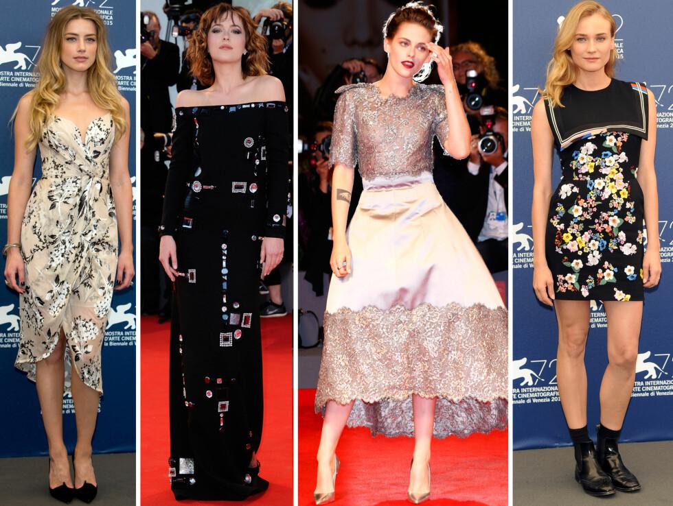 PÅ DEN RØDE LØPEREN: Amber Heard, Dakota Johnson, Kristen Stewart og Diane Kruger på filmfestivalen i Venezia.  Foto: Scanpix