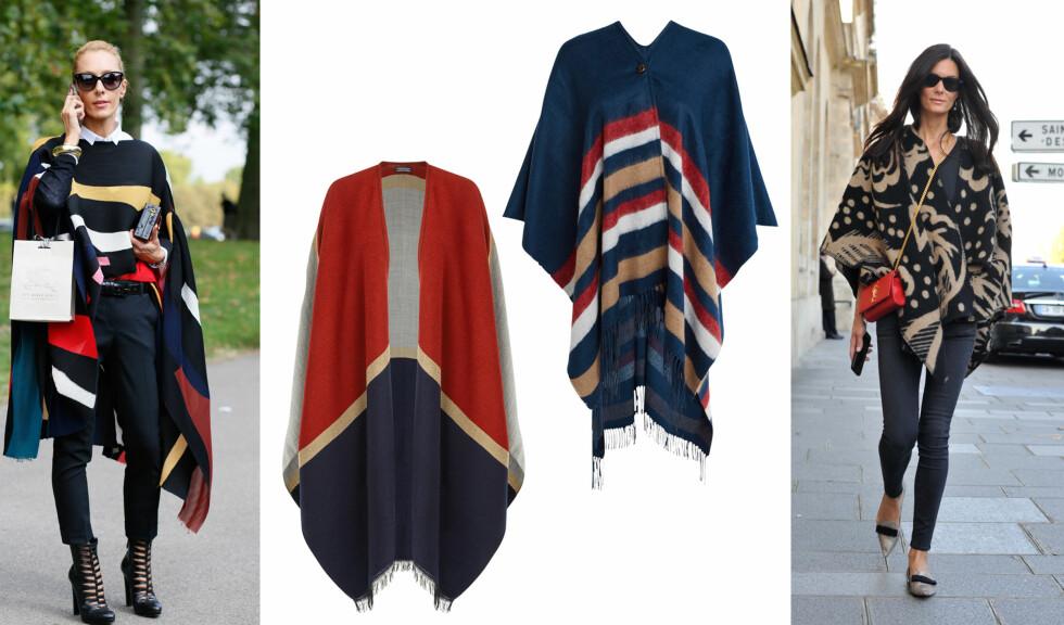 La deg inspirere av it-jentene til hvordan du kan style ponchoen denne høsten.  Foto: Scanpix