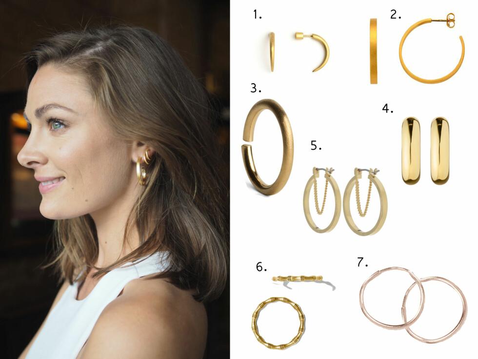 Jenny Skavlan viser hvor fint det kan være med en stor ørering og to små. Og hvor lekkert er det ikke med gull og hvitt?  Foto: Jenny Skavlan