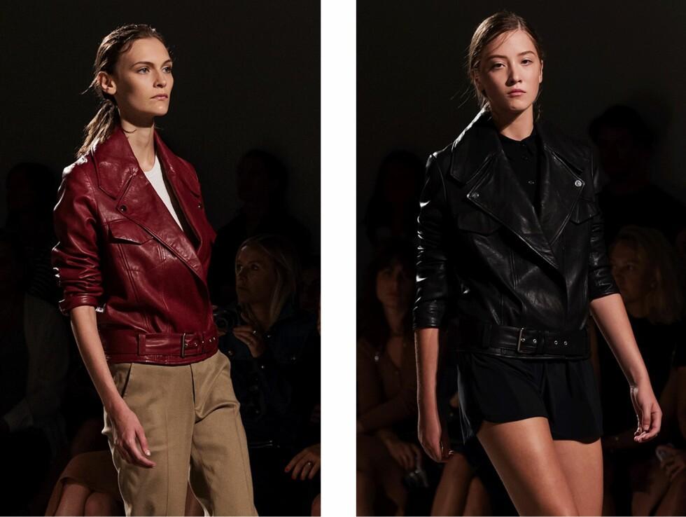 FILIPPA K: Skinnjakker prydet catwalken i dyp burgunder og dramatiske svarte toner.  Foto: Stockholm Fashion Week