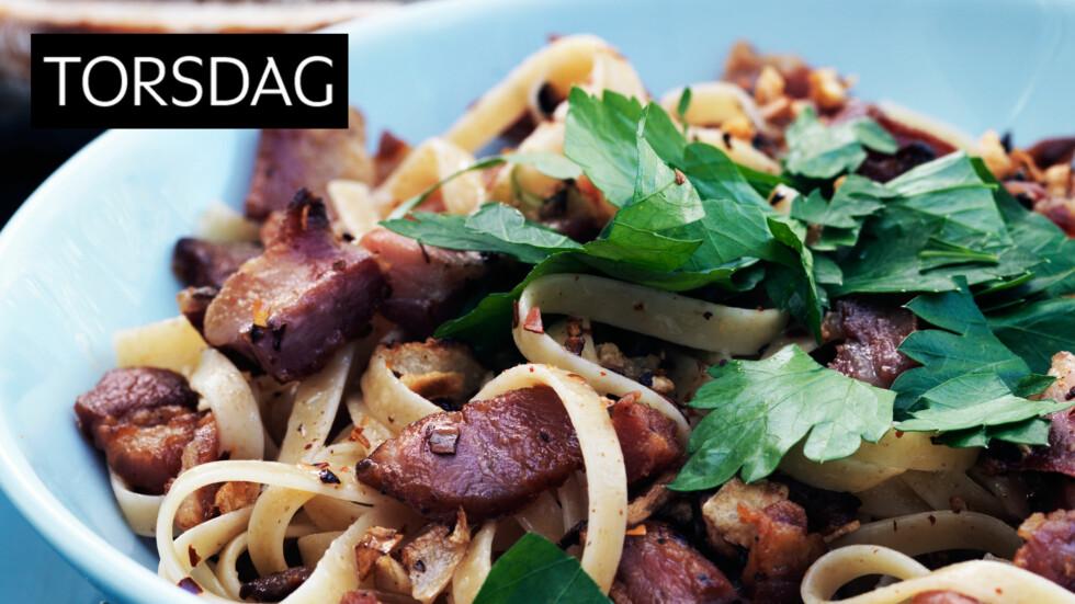 <strong>LINGUINE:</strong> Linguine er en litt oval type spagetti. Denne syrlige varianten er kjempegod. Foto: All Over Press