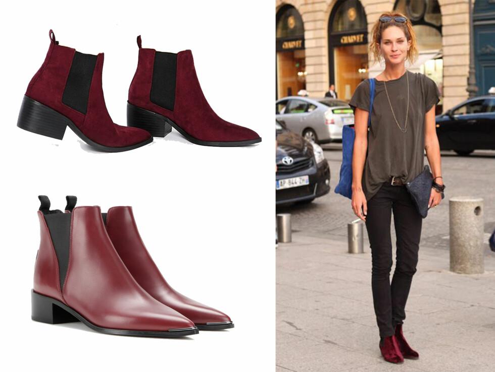 Sesongens fineste boots: Gjør som Erin Wasson og gå for burgunderfarget boots i semsket, skinn eller velur.  Foto: Mytheresa og Asos