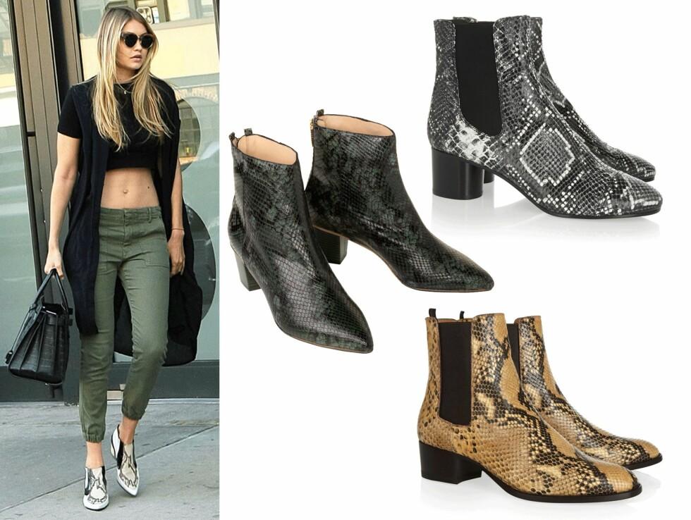 Sesongens fineste boots: Gjør som supermodell Gigi Hadid og gå for slageskinnsmønster på dine boots.  Foto: Scanpix, produsentene, mytheresa.com og produsentene.