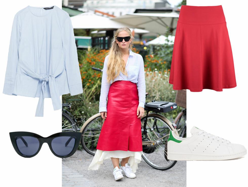 STATEMENT RØDT: Rødt er en iøynefallende og ikke minst veldig riktig plagg denne sesongen. Kombineres fint med en skjorte eller t-skjorte til.  Foto: Scanpix og Produsentene.