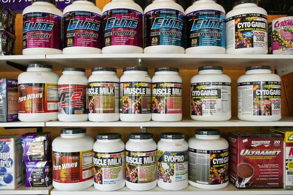USERIØSE AKTØRER: Det finnes mange typer proteinpulver du kan velge mellom. Se opp for useriøse aktører som leverer dårlig kvalitet. Foto: All Over Press