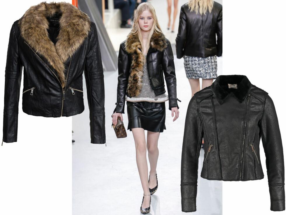 IØYNEFALLENDE DETALJ: Louis Vuitton er et motehus som sverger til fusk. Kombiner en jakke med et skinnskjørt for en kul og gjennomført look. La genseren under skape kontrast.  Foto: Scanpix og Produsentene.