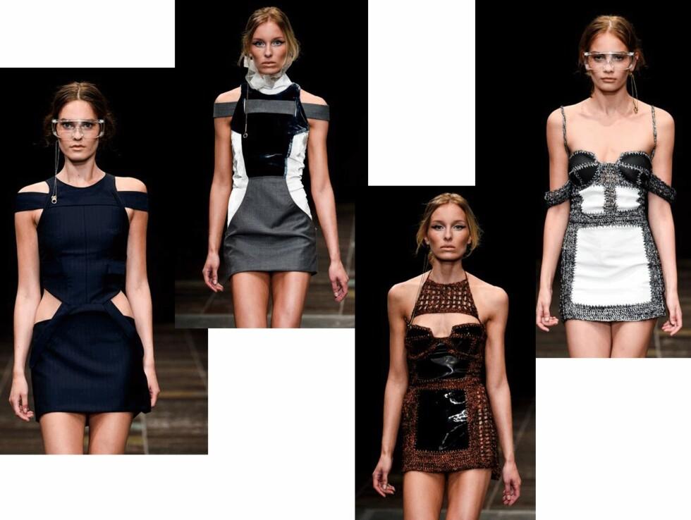 Asymetriske kjoler: Mardou & Dean satser på tettsittende kjoler med iøyenfallende detaljer i sin SS16-kolleksjon.  Foto: Produsentene