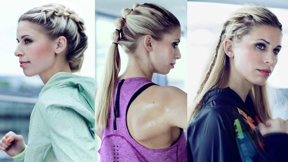 TRENDY FRISYRER: Tre frisyrer som både holder håret unna ansiktet og ser bra ut på treningen.  Foto: Astrid Waller