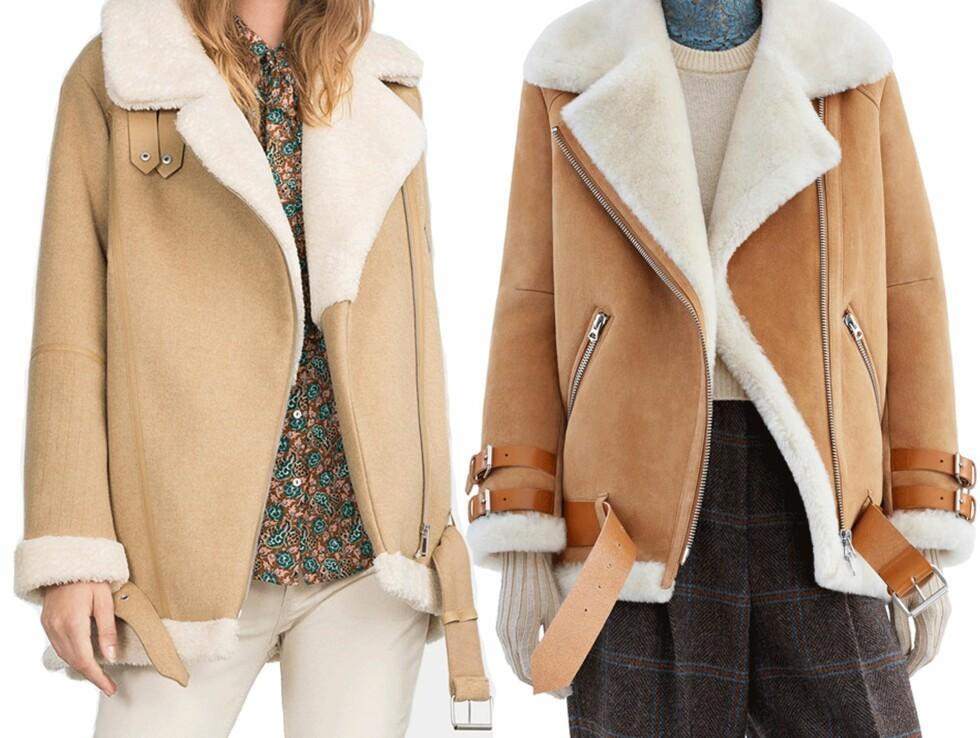 <strong>BILLIG VS DYR:</strong> Jakken til venstre er fra Zara og koster kr 1199. Jakken til høyre er fra Acne Studios og koster kr 17.995. Foto: Produsentene