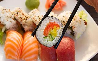 Sushi med laks er mest populært