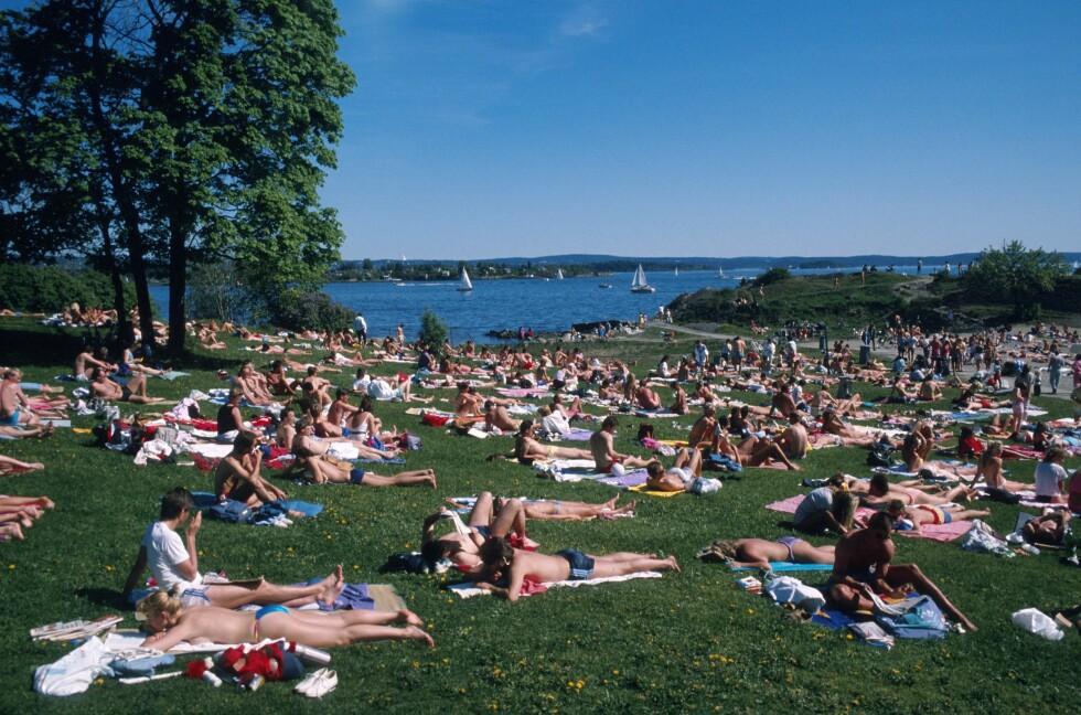 <strong>BESKYTT DEG:</strong> Nordmenn er glad i sol - noe du ser av dette bildet fra Huk på Bygdøy i Oslo. Men, det er viktig å beskytte seg, særlig mellom klokken ti og klokken 13.  Foto: Samfoto