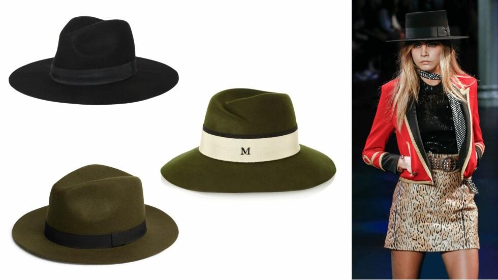Bruk hatt i sommer: Sort fra Morris, kr 299. Militærgrønn med bånd fra Maison Michel, ca. kr 4000. Militærgrønn med sort bånd fra Lindex, kr 249.  Foto: Scanpix, produsentene, net-a-porter.com