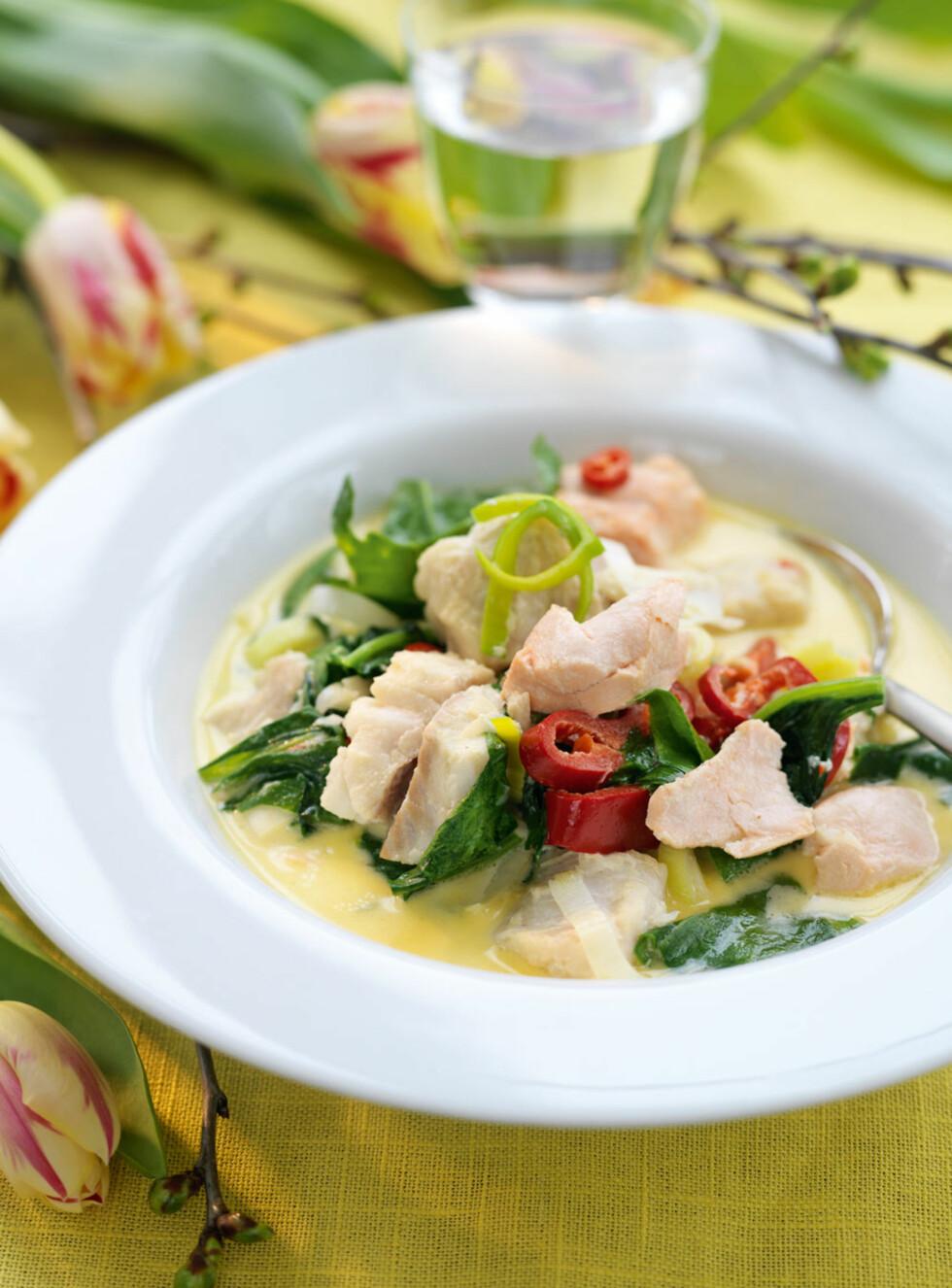 HOT FISKESUPPE: Med litt revet eller finhakket frisk ingefær, saften av en lime og frisk koriander får suppen mer thaismak.  Foto: All Over Press