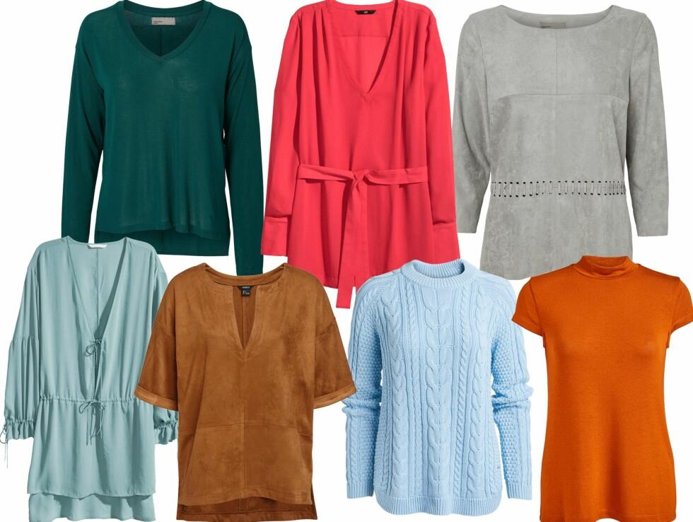 FARGEGLADE OVERDELER: Grønn genser fra Vero Moda, kr 189,95. Rød bluse fra H&M, kr 199. Grå overdel fra Vero Moda, kr 349,95. Mintgrønn tunika fra H&M, kr 299. Brun topp fra Lindex, kr 399. Lyseblå genser fra Lindex, kr 299. Oransje topp fra Lindex, kr 149. Foto: Produsentene