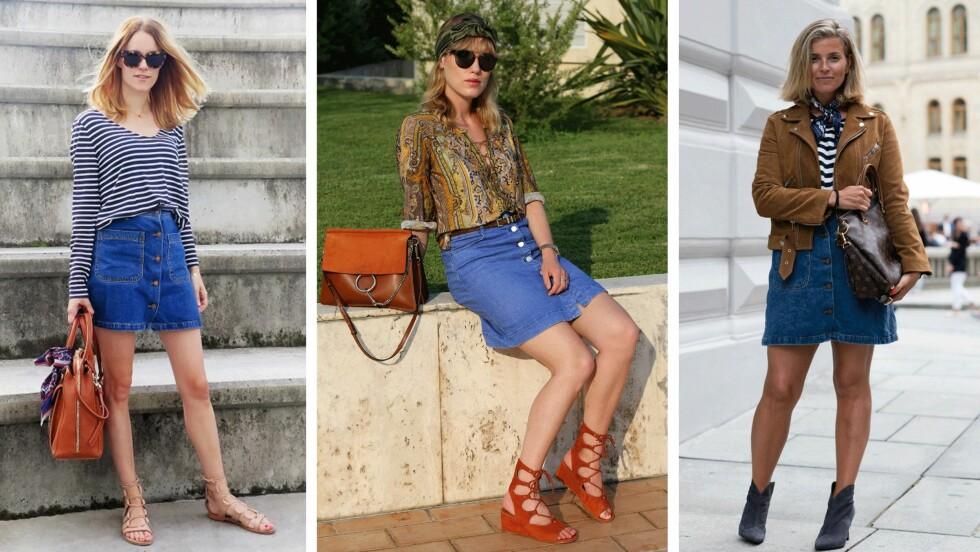 DENIMSKJØRTET: (f.v.) Sara Strand, Annabel Rosendahl og Janka Polliani viser hver sin måte å style trendplagget på. Foto: Sarastrand.no, Annabelrosendahl.com, Polliani.com