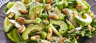 Salat med cashewnøtter og avokado