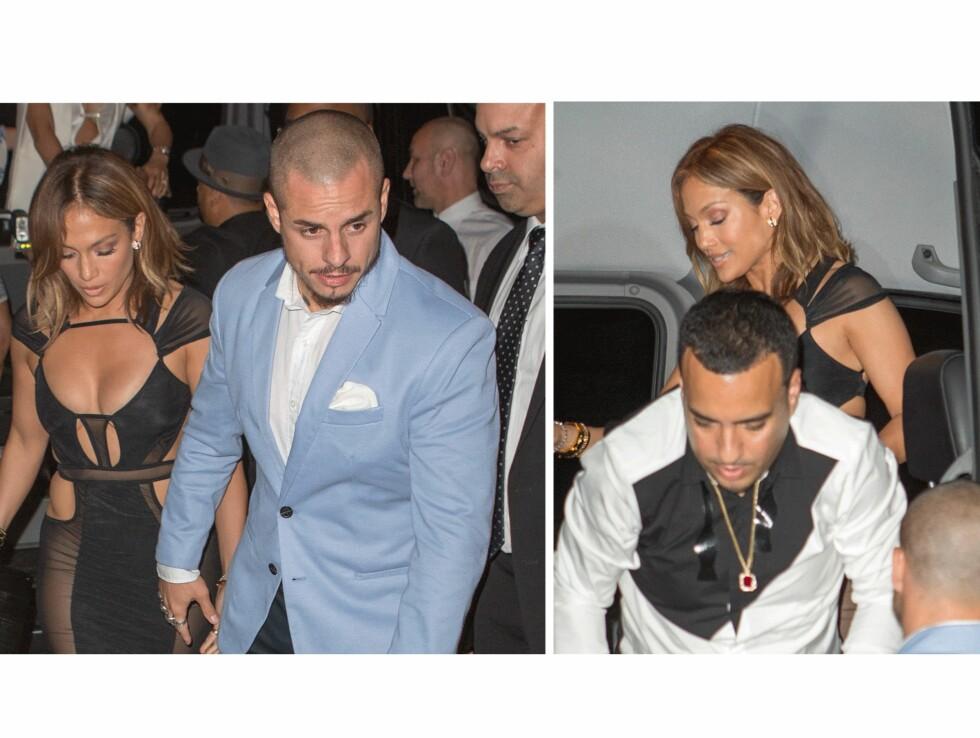 PÅ FEST: (t.v.) Jennifer Lopez sammen med kjæresten Casper Smart. (t.h.) JLo med en av kveldens gjester; rapper French Montana. Foto: Scanpix