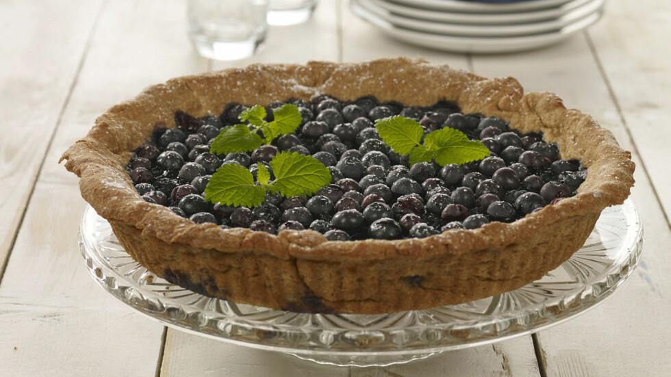 BLÅBÆRPAI: Hva med å lage en herlig blåbærpai i helgen?  Foto: Grete Roede AS