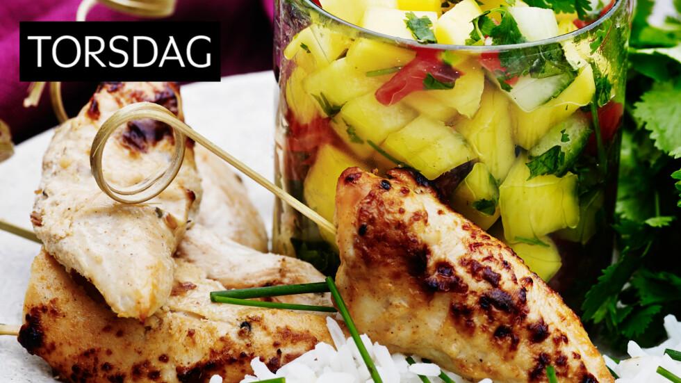 MANGOSALSA: Lekker rett med saftig og velsmakende salsa av mango, agurk, tomat og koriander. Foto: All Over Press