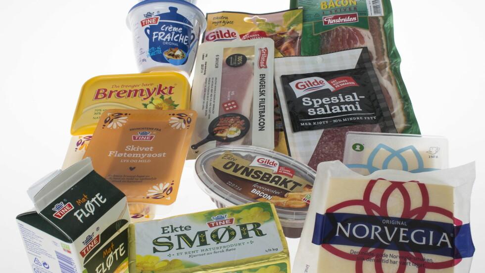 FETT: Det finnes flere typer fett - deriblant mettet fett, som er det usunne fettet. Matvarene på dette bildet inneholder en del mettet fett, og bør derfor ikke spises i for store mengder.  Foto: VG