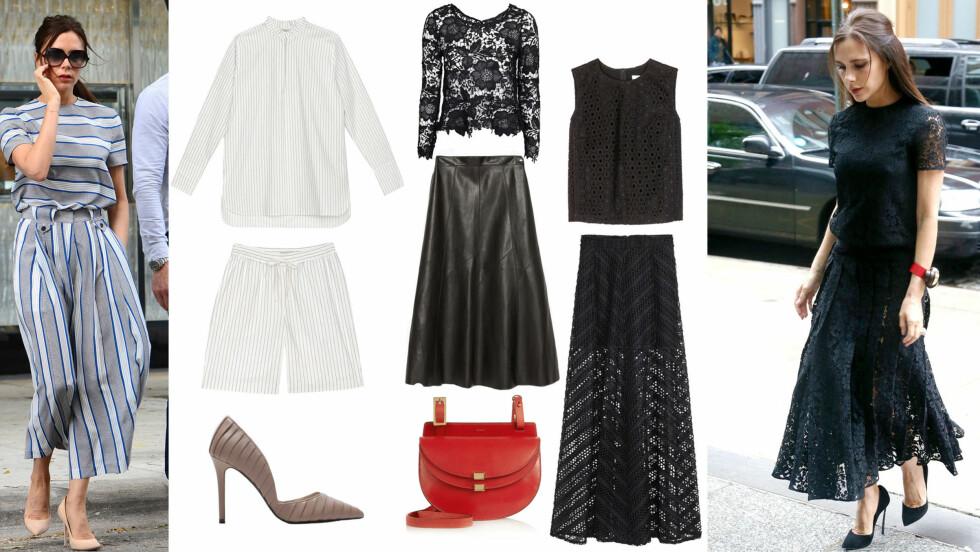 VICTORIA BECKHAM: Striper og sorte blonder! La deg inspirere av Victoria Beckham til hvordan du kan se fresh ut i sommer.  Foto: Scanpix og Produsentene