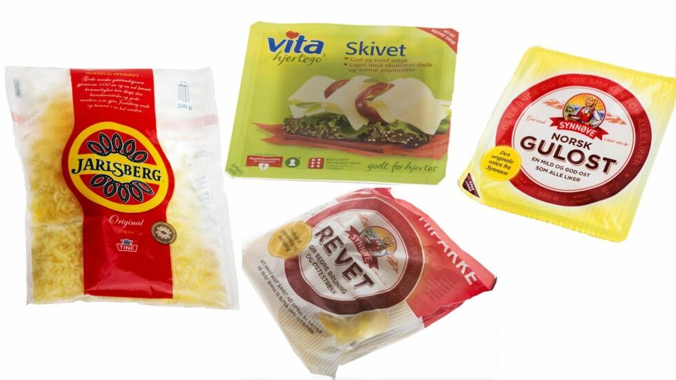 IKKE EGENTLIG OST: «Ost»som ikke er laget utelukkende av melkefett kan ikke kalles ost. Altså er det bare Norsk gulost fra Synnøve og Jarlsberg fra Tine som kan kalles ost her. I de andre er alt eller deler av melkefettet byttet ut med vegetabilsk olje.  Foto: Scanpix