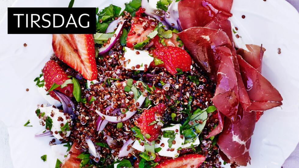 JORDBÆR: Nei, da. Jordbær er ikke bare dessert. De fungerer utrolig bra i en middagssalat som dette. Foto: All Over Press