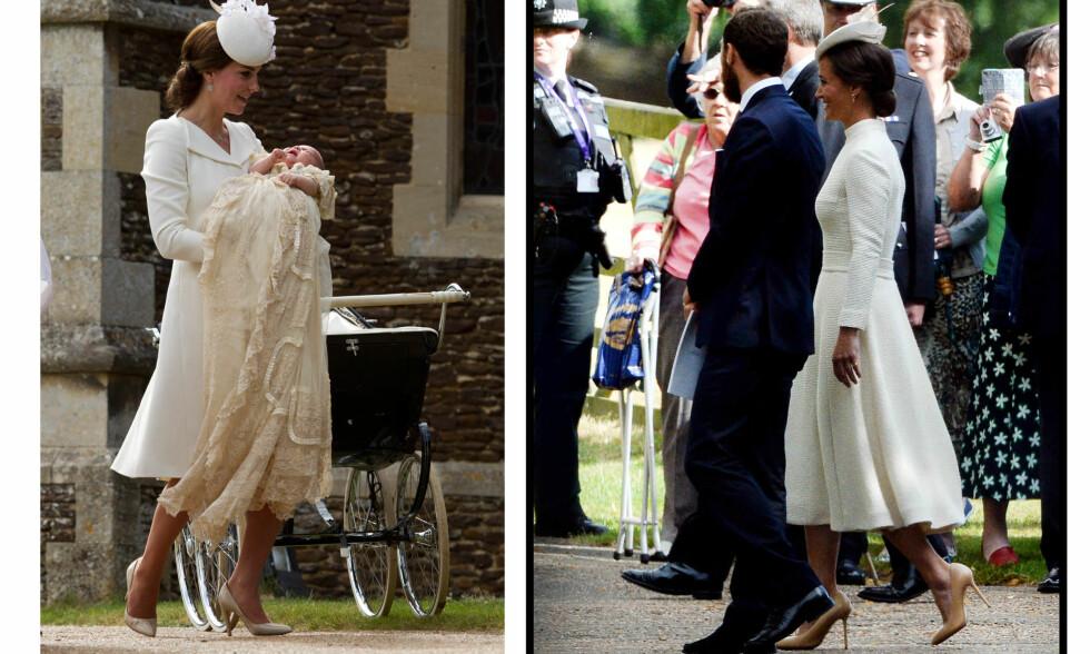 KATE OG PIPPA - SE SÅ LIKE: Søstrene har matchet i Kates bryllup, prins George sin dåp, og nå i prinsesse Charlottes. Foto: Scanpix