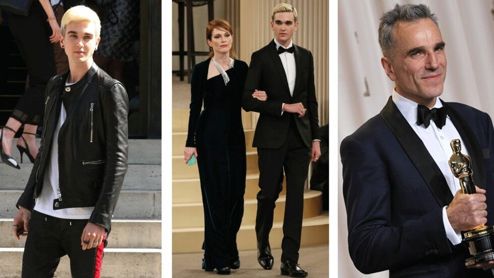 DANIEL DAY-LEWIS' SØNN: Den 20 år gamle modellen Gabriel Kane gikk sammen med Julianne Moore (54) under couture-visningen til Chanel. Foto: Scanpix