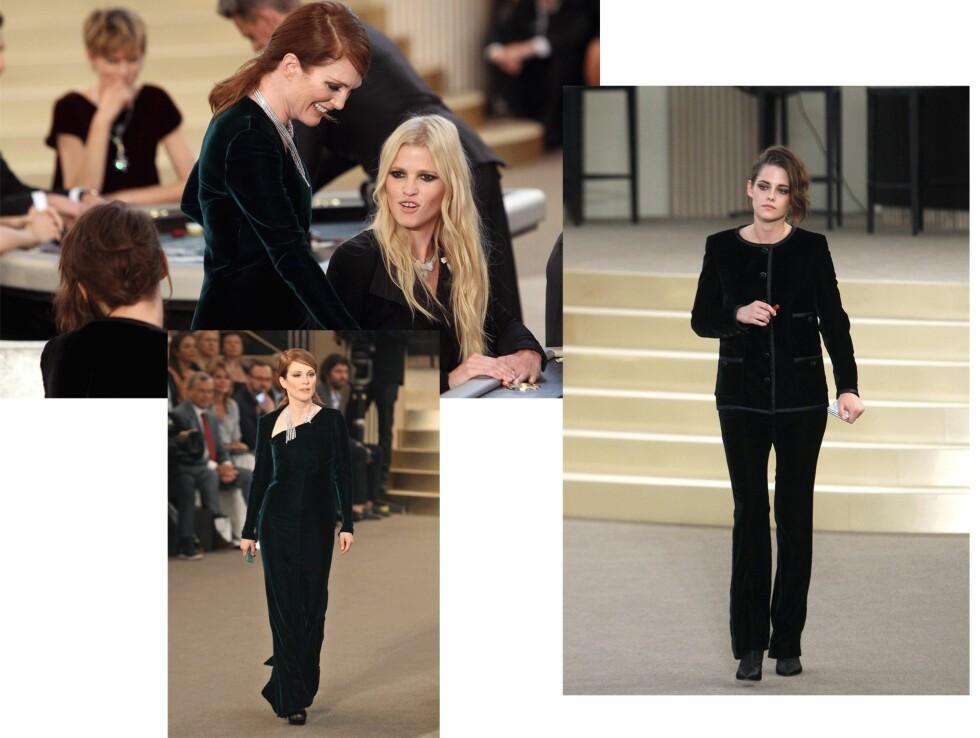 I CHANEL COUTURE: Julianne Moore og Kristen Stewart gjør seg klare til å gamble under Fashion Week. Foto: Scanpix