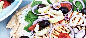 Tyrkisk vegetar-wrap med tzatziki og tomatsalsa