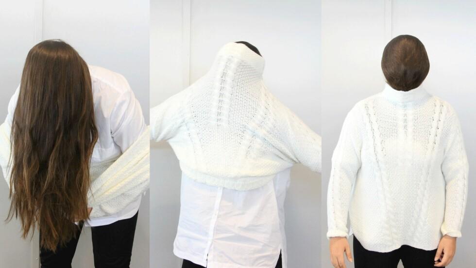 1-2-3: Det ser kanskje litt tåpelig ut, men hvis du vil unngå sminke på genseren er dette en kjapp og smart løsning. Foto: Ronja Rognmo