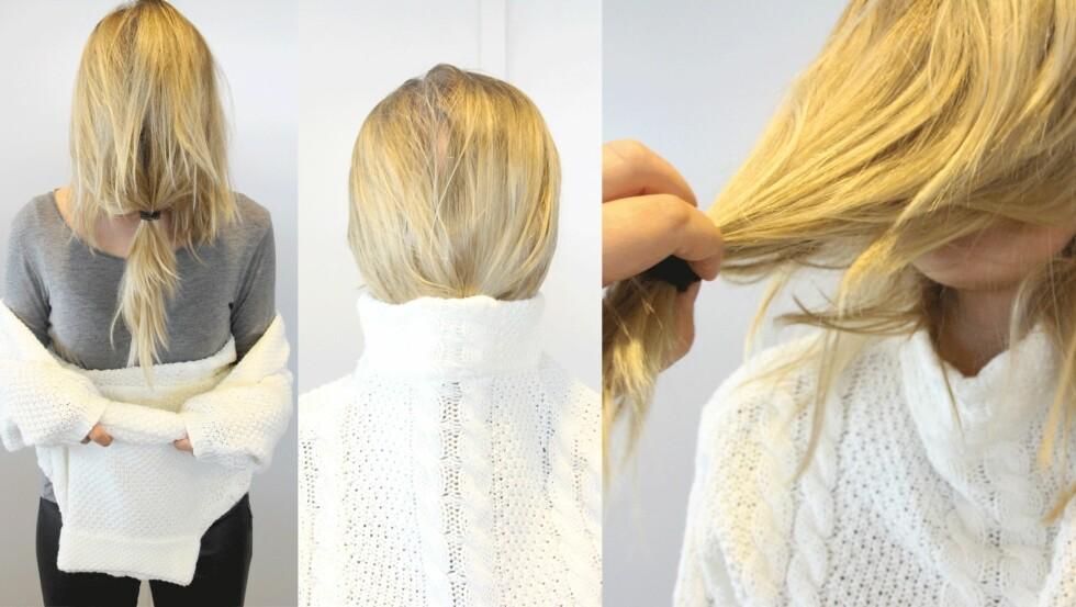 SLIK GJØR DU: Samle håret og bruk en strikk til å lage en hestehale. På denne måten dekker du hele ansiktet.  Foto: Malin Gaden