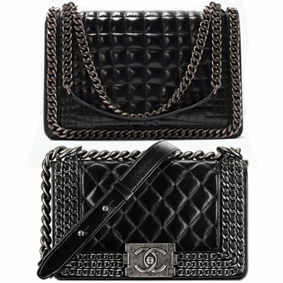 ZARA vs CHANEL: Vesken øverst er fra Zara og koser kr 1199. Vesken under er fra Chanel og koster fra kr 25000.  Foto: Produsentene