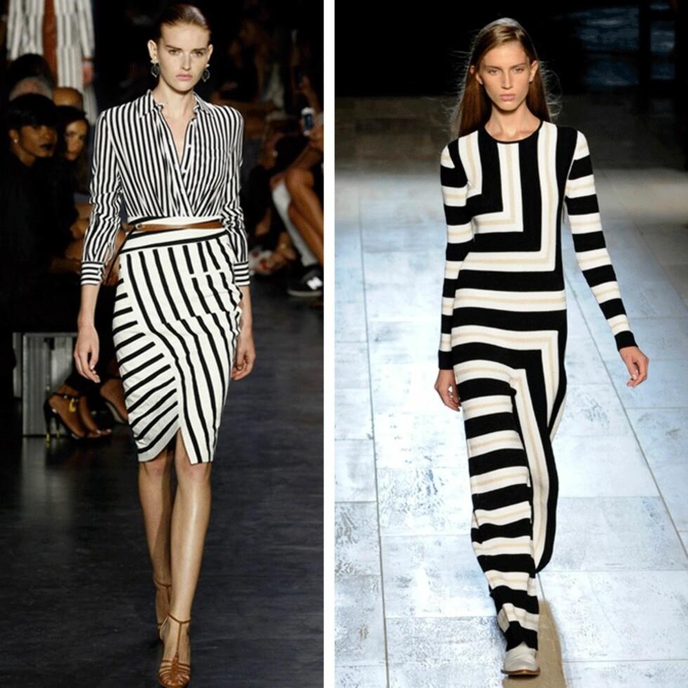 FORSKJELLIGE RETNINGER: Altuzarra (t.v.) og Victoria Beckham (t.h.) viste begge looks med striper i en oppdatert versjon. Foto: Scanpix