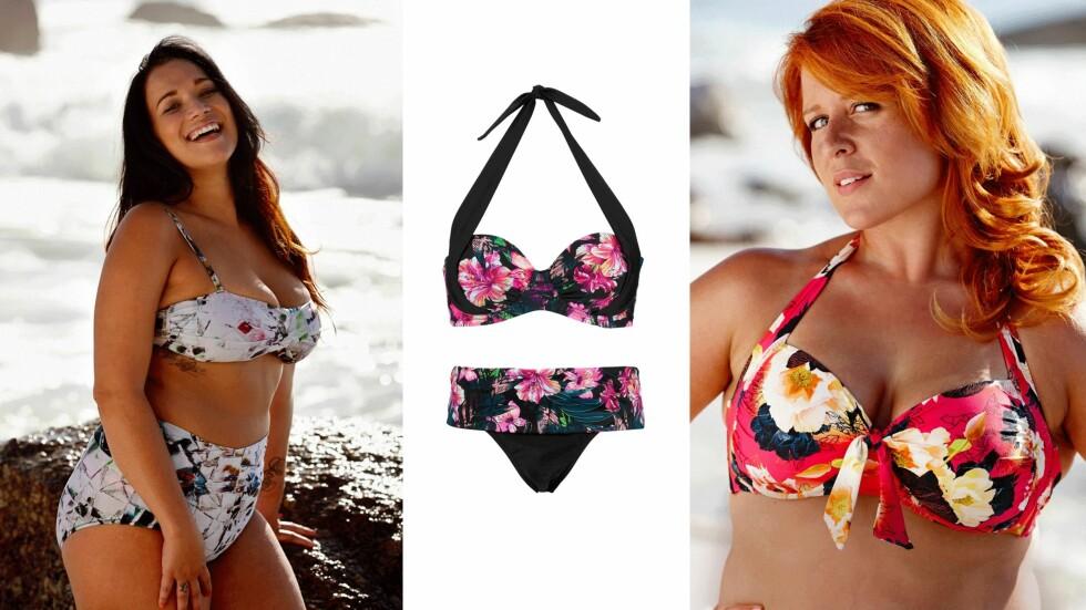 FORTVIL IKKE: Lekkert badetøy finnes til alle! Bikinien i midten er fra Ellos: Topp, kr 179 og truse, kr 99. Foto: Linn Flammier