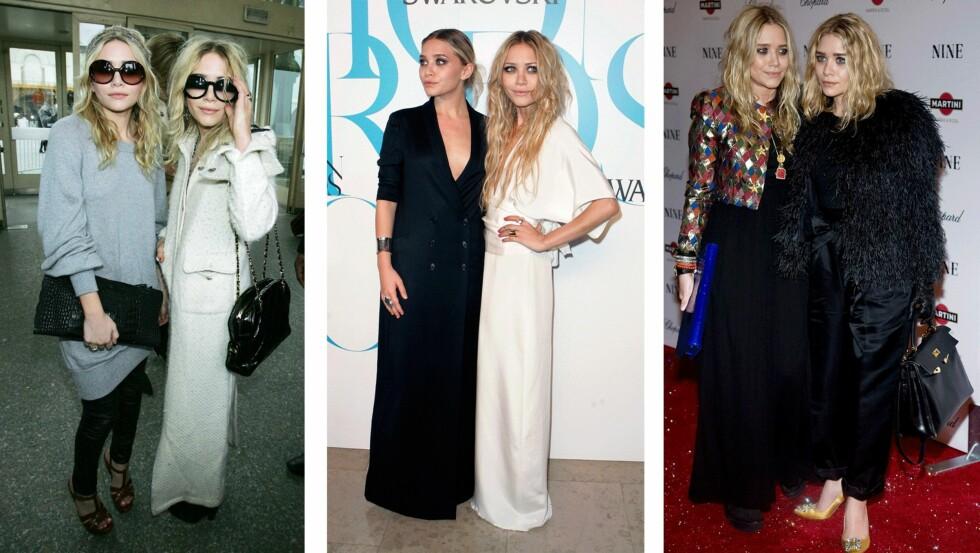 STILFORANDRING: Olsen-tvillingene har prøvd mange forskjellige looks i løpet av sine 29 år. Foto: Scanpix