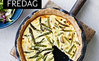 Terte med poteter, asparges og geitost