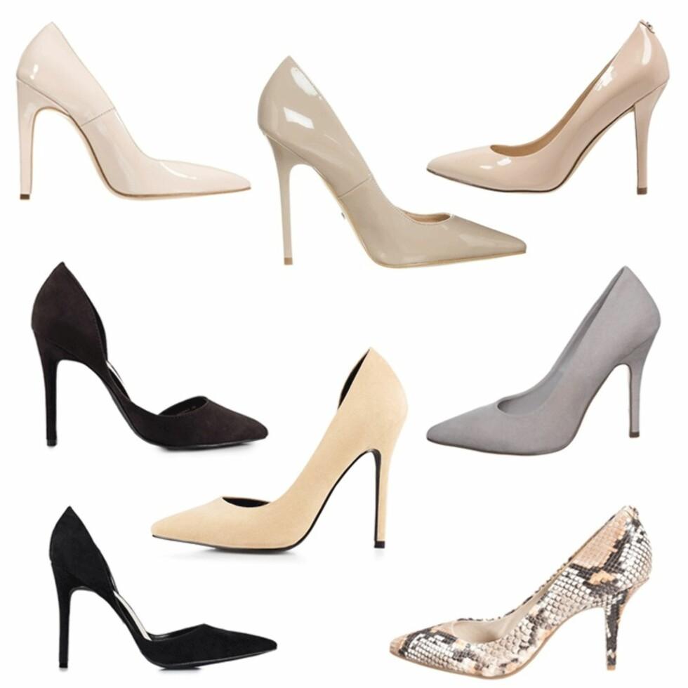 HØYE HÆLER: Priser på skoene ligger i bildeserien nederst i saken. Foto: Produsenten, Zalando.no, Nelly.com