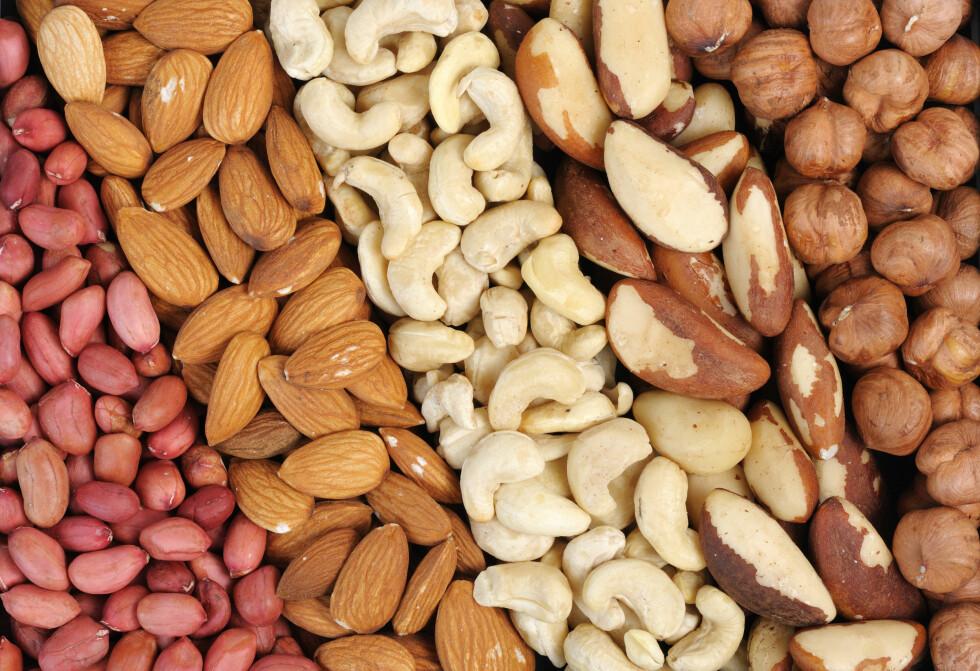 DE VERSTE OG BESTE: Alle inneholder de gode næringsstoffer og sunt fett, men macadamia, paranøtter og pekannøtter har det høyeste innholdet av fett og kalorier. Foto: Scanpix/NTB