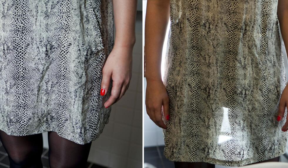 <strong>GJENNOMSIKTIG:</strong> Ja, denne kjolen er temmelig gjennomsiktig avslører baklystesten. Men som du kan se på bildet til venstre kan det være vanskelig å se i vanlig lys.  Foto: Per Ervland