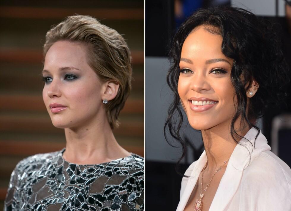 <strong>ICLOUD SKANDALE:</strong> Jennifer Lawrence og Rihanna var to av kjendiskvinnene som fikk sine private bilder stjålet fra sin iCloud konto og spredd på internett. Foto: Afp