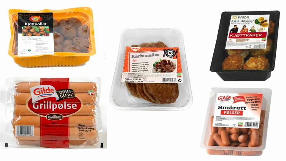 FERDIGE KJØTTPRODUKTER: Glad i pølser, kjøttkaker og karbonader? Da bør du alltid huske å sjekke hvor mange prosent kjøtt produktene inneholder.  Foto: Produsentene