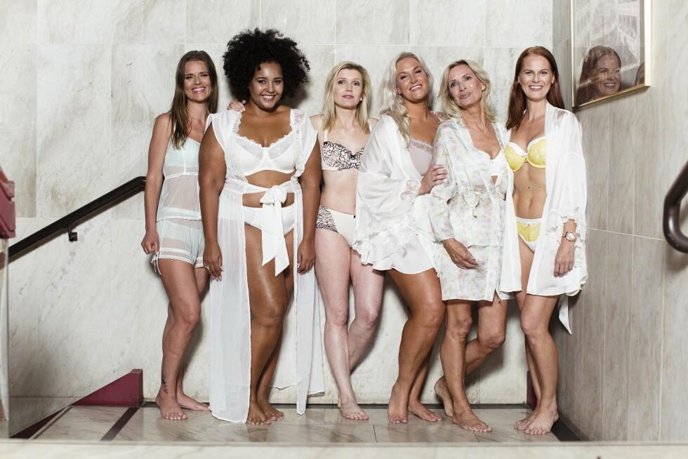NATURLIGE KVINNER: Disse KK Stil-modellene viste undertøy på scenen på KK-dagen den 24. april. Her er de backstage på Oslo Konserthus. Vakre som få! Foto: Astrid Waller