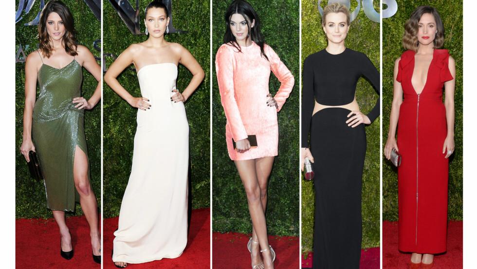 <strong>PÅ TONY AWARDS:</strong> Ashley Greene, Bella Hadid, Kendall Jenner, Taylor Schilling og Rose Byrne.  Foto: Scanpix