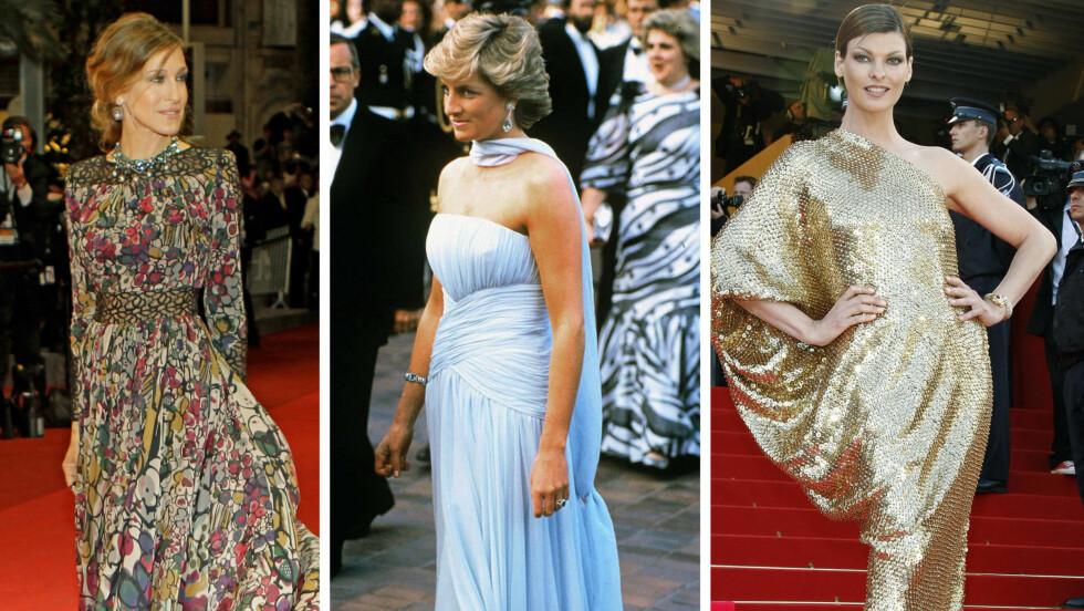 <strong>CANNES-FESTIVALEN:</strong> Er snart i gang igjen. I denne saken ser du noen av våre kjolefavoritter. Her er Sarah Jessica Parker, prinsesse Diana og Linda Evangelista på festivalen.  Foto: Scanpix